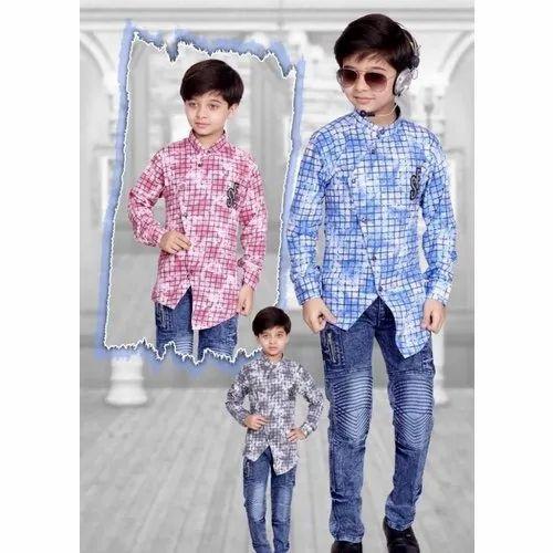 Casual Wear Kids Boy Denim Pant Checked Shirt Set