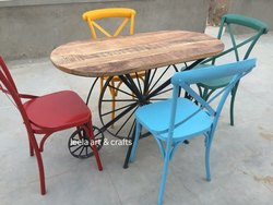 Industrial Four Seater Dining Sets, Size: W140*D70*H76 (Cm)