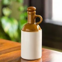 ExclusiveLane The 'Old Fashioned' Hand Glazed Studio Pottery Ceramic Oil Bottle (1000 ML)