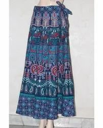 Blue Printed Wrap Skirt
