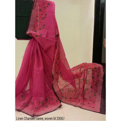 Linen Chanderi Saree, 5.5 M (separate Blouse Piece)
