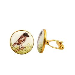 Hand Painted Bird Cufflinks In Enamel And 92.5 Sterling Silver