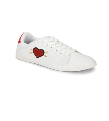 White Pu Red Heart Detail Lace-up