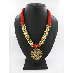 Oxidized Ghunghru Floral Pendent Necklace