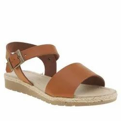 Leather Flats & Sandals Ladies Sandal, For Casual Wear