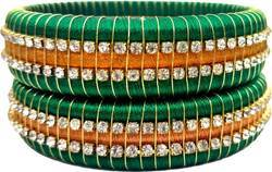 green and golden zari silk threds bangles set