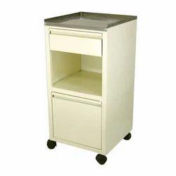 White Deluxe Bedside Locker, Size: 400 x 400 x 820 mm