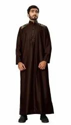Coffee Color Plain Cotton Thobe Jubba Disdasha