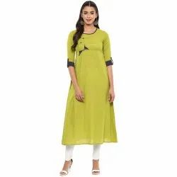 Yash Gallery Womens Cotton Slub Patch Work A-Line Kurta