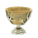 Wooden Bowl horn shape aluminium stand with base