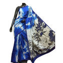 Party Wear Blue Pure Silk Dye Block Printed Saree, With Blouse Piece, 6.5 M