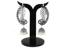 Oxidized Silver Plated Earrcuff Jhumka Earrings