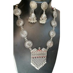 OTC Oxidized Silver Oxidized Party Wear Necklace Set, 1 Pair Earring Set, 1 Necklace