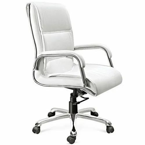 Fixed Arms Designer White Chair
