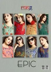 Cotton With Manual Embroidery Work Kurtis