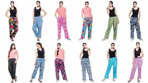 Women Cotton Printed Pant/Trouser, Waist Size: 34, 36 Inch