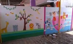 Play School Interior Designing Wall Paintings And 3D Wall Paper Designing