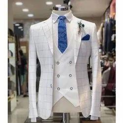 Mens Check Three Piece Suit, M-XXXXL