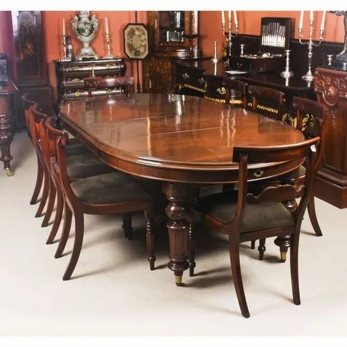 Brown Oval 8 Seater Dining Table Set, Oval Dining Room Set