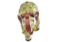 Handmade Marble Elephant with Pure Gold Work