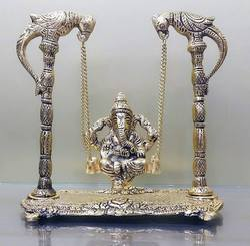 White Metal Grey Bucks Ganesh Ganpati Ji On Jhula Swing