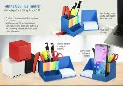 Folding USB Hub Tumbler With Notepad And Sticky Pads  3 Ports
