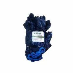 Cotton Blue PVC Dotted Gloves, Size: Medium