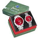 Jainx Red Dial Day and Date Analog Couple Watch JC480