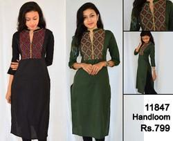 Geometrical Embroidered Ladies Casual Hand-loom Kurti-
