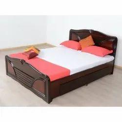 Brown 5 X 6.5 Feet Wooden Designer Bed