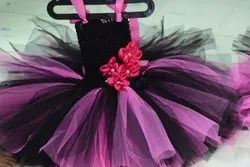 Black and Pink Girl Nia's Full Flared Designer Party Wear Frock