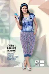 Ladies Printed Ribb Pocket Capri