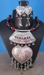 Fashion Chunky Bib Choker Heart Necklace Set