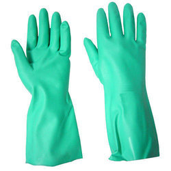 Green Nitrile Rubber Hand Gloves