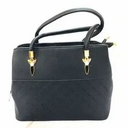 Plain Ladies Black Synthetic Leather Hand Bag