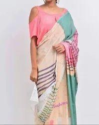 Designer Bagru Hand Batik Cotton Mulmul Saree