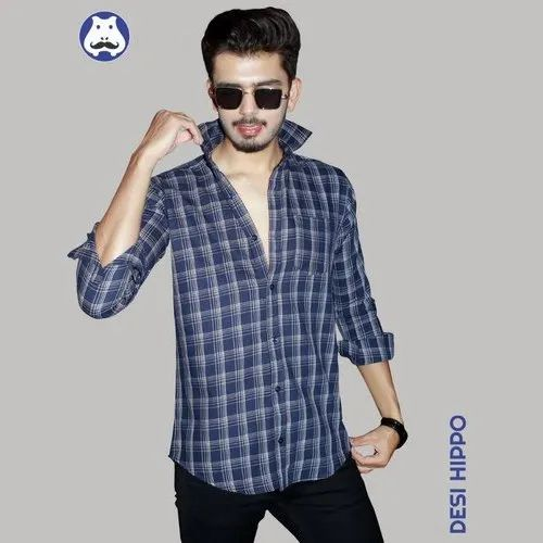 Regular Wear Cotton Mens Full Sleeve Checked Shirt, Machine wash, Size: 38-46