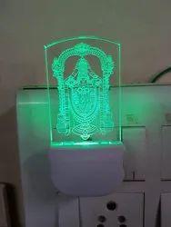 Acrylic Engraving LED Night Lamps Tirupati Balaji