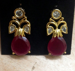 CZ Floral Ruby Stone Stud Ear Rings