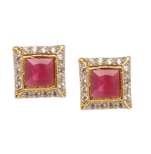 Bindhani Square Shape Ruby Stone Cz Stud