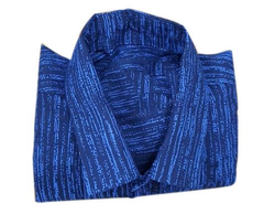 Collar Neck Men's Blue Full Sleeve Cotton Shirt, Machine Wash, Size: S-XXL