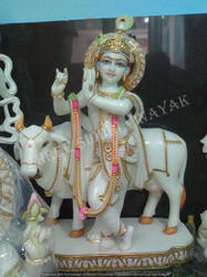 Bal Gopal Krishna with Cow Marble Statue