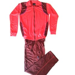 Red And Maroon P-Knit School Tracksuit