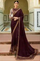Burgundy Designer Silk Saree with Double Blouse