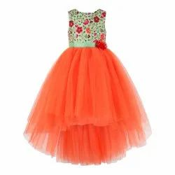 Green With Orange Combo Girls Party Wear Dress