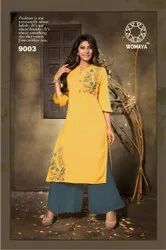 Womaya Rayon Milange Embroidered Kurti with Palazzo
