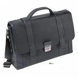 Black Messenger Leather Bag