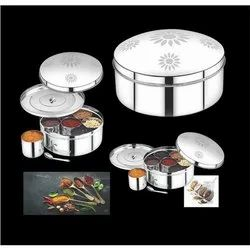 Avias India Silver Stainless Steel Spice Box, Shape: Round