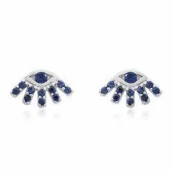 Blue Sapphire Gemstone White Gold Stud Earrings
