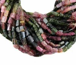 Natural Multi Tourmaline Plain Square Gemstone Beads